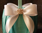 Flower Girl Basket- Aqua Blue Silk Flower Girl Basket with Light Ivory Satin Bows and Rhinestones - Jillian