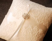 Ring Bearer Pillow  - Ivory Ring Bearer Pillow with Partial Alencon Lace Overlay and Rhinestone Brooch - Eleanor