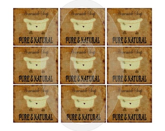Printable Soap Labels Grungy and Primitive Bathtub French Farmhouse Country Tags Stickers Cards Paper crafts Feedsack Burlap Download Art