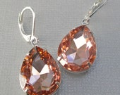 Peach Crystal Earrings - Spring Jewelry - Bridesmaid Gift - Victorian Earrings - Downton Abbey Inspired - CAMBRIDGE Peach