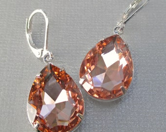 Peach Crystal Earrings - Fall Jewelry - Bridesmaid Gift - Victorian Earrings - CAMBRIDGE Peach