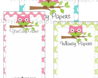 Owl Display cards - Choice of sizes - Optional double-sided print