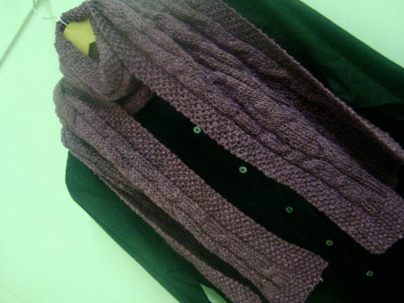 SALE Organic cotton & bamboo Unisex Cable Scarf