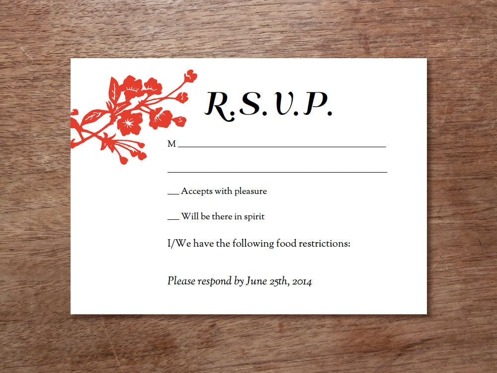 Revered image regarding printable rsvp cards