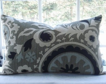 SUZANI - BOTH SIDES -- Decorative Pillow--Designer Fabric--Blue Grey Taupe  Ivory  Black Accent  Pillow-