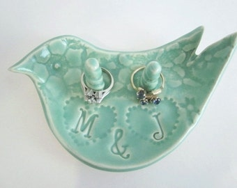 His and hers personalized ceramic fine art ring holder, Unique engagement gift, Mr. and Mrs.