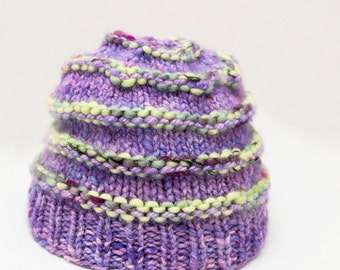 Luxe Newborn Purple Cormo American Hand knit Hat