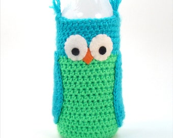 Water Bottle Sleeve - Owl Crochet Pattern - Crochet Water Cozy - Summer Crochet - Plastic Water Bottle Cover