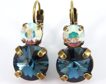 Navy Blue drop earrings Navy AB Swarovski crystals Earrings,Navy Blue Wedding Navy Bridesmaids,Navy Rhinestones 7mm&10mm,Brass,JEANS,BE15