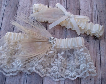 Ivory Garter Set Peacock Feather LACE WEDDING Rhinestone bridal lingerie, wedding accessories ivory pearl garder