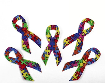 FIVE Autism Puzzle Piece Awareness Ribbons, Fabric Applique Iron Ons, Set of 5, Red, Yellow, Blue, Green