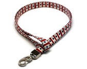 Patriotic Lanyard - Very Cute Red & Blue w/ Stars - Keychain ID badge holder - 4th of July - Office Workers, Nurses, Teachers, Students