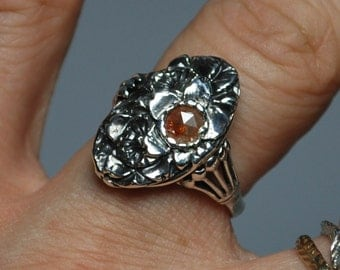 Helen Flowers-Sterling Silver and Red Diamond Ring-READY TO SHIP
