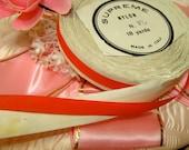 Antique  Italian Christmas  Luxurious High End Silky Nylon Italian Cherry Red Ribbon