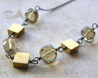 Topaz Cube Necklace, Vintage Brass Squares Necklace, Mixed Metals Necklace