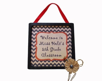 Personalized Teacher Gift Wooden Framed Wall or Door Sign Burlap Flower