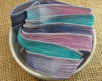 Springtime - Hand Dyed Silk Wrap Bracelet or Necklace Ribbon - Hand Dyed Ribbon - sr14