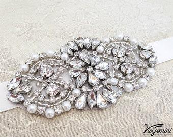 Bridal Bracelet, Crystal Rhinestone and Pearl Bridal Bracelet, Bridal Cuff, Wedding Accessory