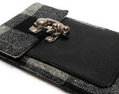iPhone wallet - black and gray buffalo check