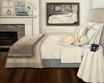 CUSTOM Life Imitating Art (after Wyeth) . . . . .16x20 Original Oil Painting by Lara YOUR DOG Any Breed