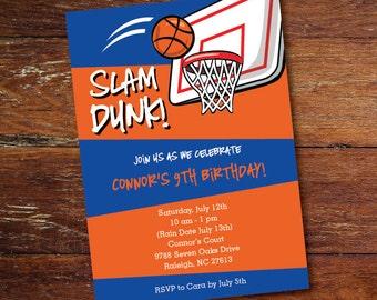Basketball party invitation (custom), printable file