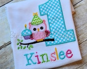 Custom owl on a branch birthday shirt or bodysuit. Personalized. Will customize to match party colors.