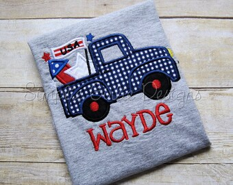 Patriotic truck applique shirt. Personalized. Can customize. Sizes NB to youth small. Other sizes available.