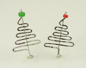 Sterling silver Zig-Zag Christmas Tree Pins
