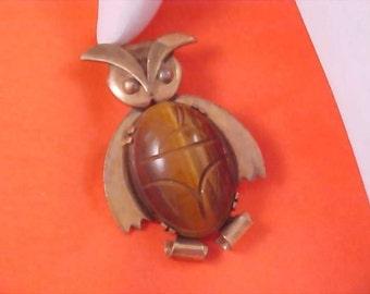 Genuine Carved Tiger's Eye Oval Stone - 1/20 12K G.F. OWL Brooch