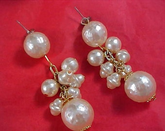 Simulated BAROQUE PEARL Shoulder Duster Post Earrings