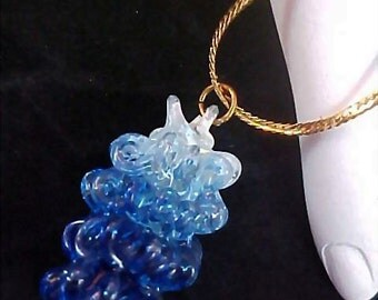 Variegated Blue Crystal Pendant and Chain
