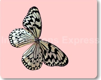 White Nymph Butterfly Pink Mouse Pad