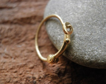 Unisex earring, Tiny one hoop, 18K yellow gold Unisex Every-Day hoop earring, Classic design, Men's earring