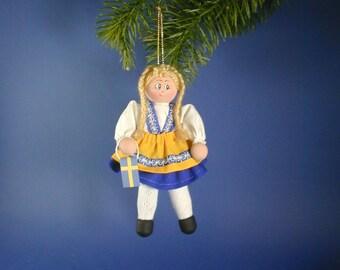 Swedish Girl Clothespin Ornament; Swedish Ornament;  Swedish Flag