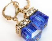 Sapphire Crystal Earrings, Gold Filled, Bright Blue Swarovski Cube Drop, Wedding Bridesmaid Handmade Jewelry, September Birthstone
