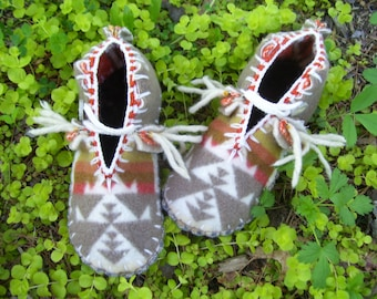 Bushy White Whiskers - Felted Blanket Wool / Wool Lined / Sheepskin and Leather Soles Moccasins / Slippers- Women's or Men's Sizes