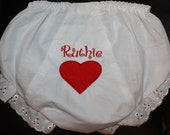Embroidered Personalized Baby Bloomers with Red Heart
