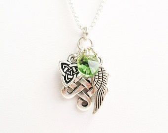 Celtic Knot Necklace - Celtic Eternity Knot, Celtic Triquetra Knot, Angel Wing and Green Crystal - on Sterling Silver Chain