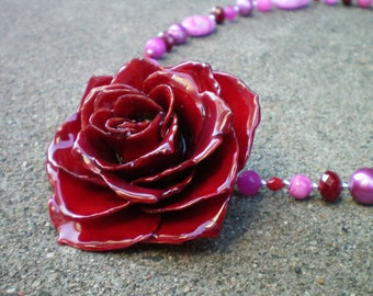 Free Shipping REAL Dark Marsala Red ROSE and Agate, Jade and Pearls Sterling Silver Statement Necklace