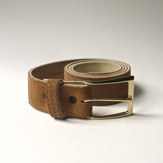 70s vintage brown suede belt with gold metal buckle