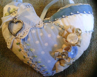 Small Tan and Light Blue Heart Crazy Quilt Pillow