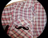 Vintage Hipster Plaid Shirt with Mustache on pocket