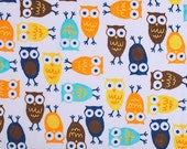 WINTER SALE - Hootie and the Blowfish - Night Owls in Orange and Brown - 1 yard Minky - from Shannon Fabrics
