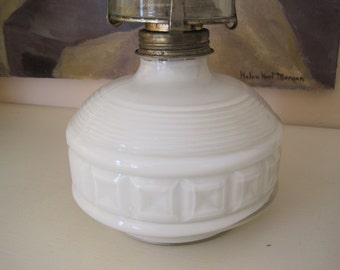 Vintage Oil Lamp Reversed Painted Glass White