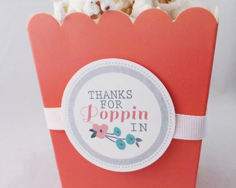 Popcorn Favor Boxes 12qty.....choose your color, tag and ribbon...Mint or Coral Box