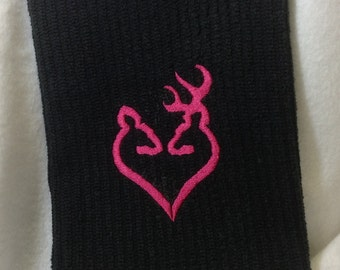 Pink Doe & Buck Embroidered Kitchen Towel