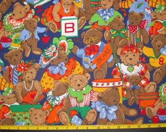 Teddy Bears VIP Fabric Design Fabric Yardage Destash OOP