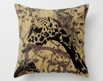Wild animal pillow, african safari style wildlife, giraffe pillow neutral brown tone home decor, brown giraffe animal print art cushion art,
