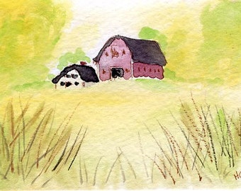 Original Watercolor ACEO Art Card, Farm on Hill, Barn, Fields