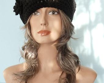 Black Crocheted Beret